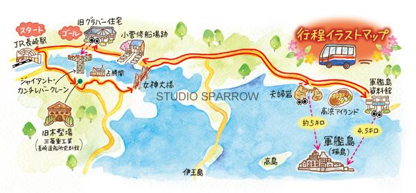 長崎世界遺産イラストマップ