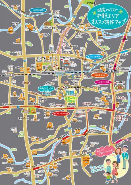 中野周辺イラストマップ
