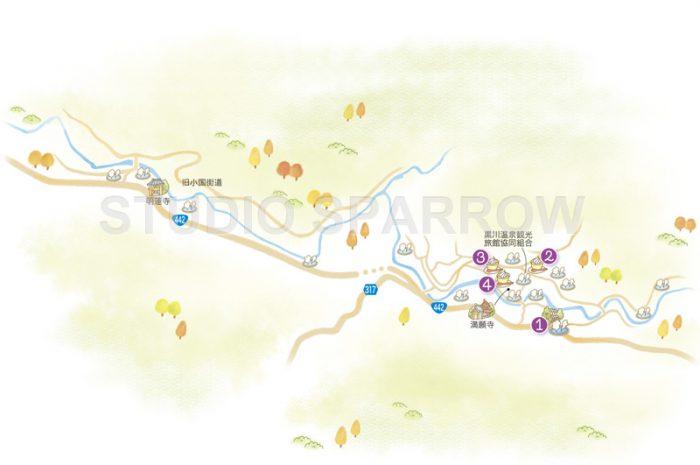九州温泉イラストマップを制作しました。