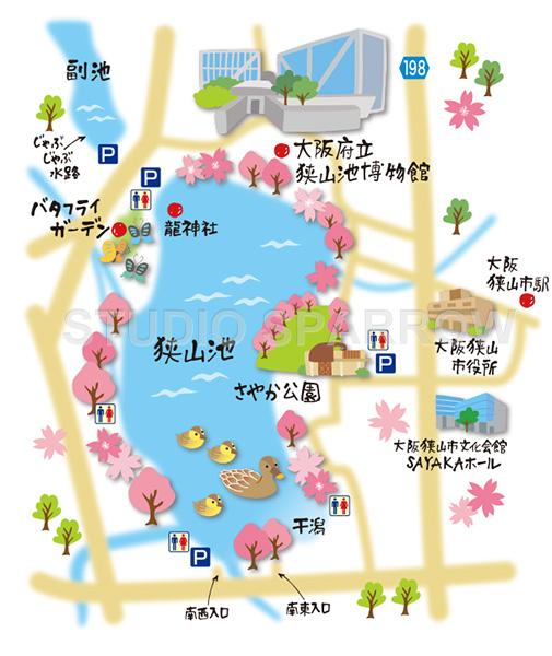 冊子用のイラストマップ制作。天野街道・狭山池を描きました。