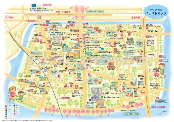 広告用のイラストマップ制作。中央区新川を描きました。
