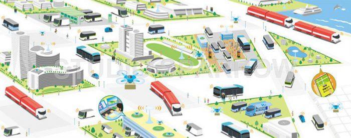 パンフレット用イラスト制作。近未来の街を描きました。