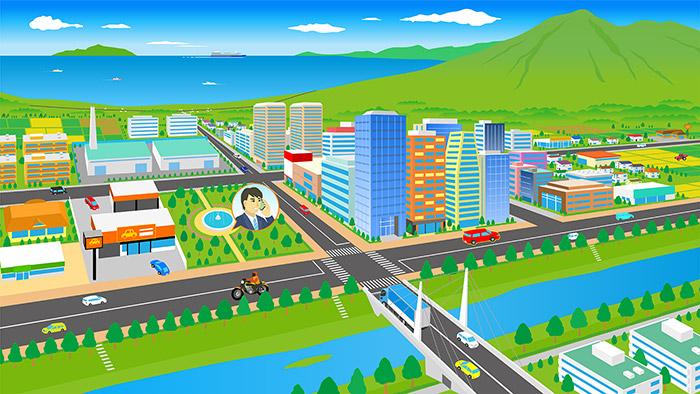街のイラストをホームページ用に描きました。