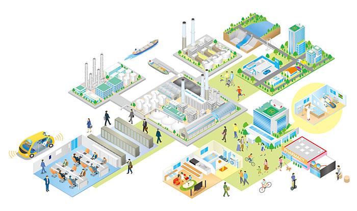 工場と社会インフライラストを描きました。