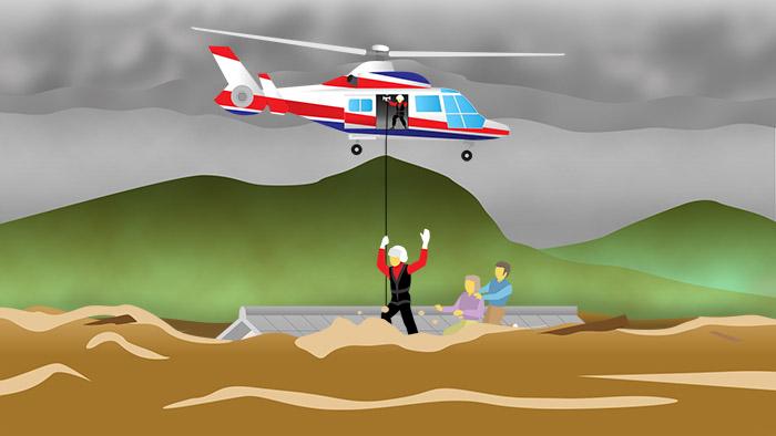 テレビ番組用のイラスト制作。救助ヘリによる救助を描きました。